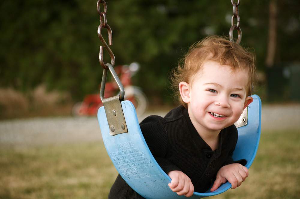 Kyler on the swing
